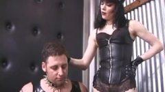 Two Ravishing Babes Enjoy Spanking A Latex-clad Naughty Stud Rough