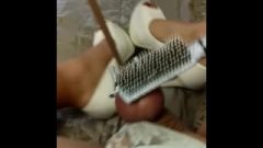 CD Sissy Spanking Her Balls With A Hairbrush