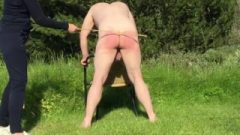 Miss M. Is CANING Her Slave OUTDOORS In The SUN!