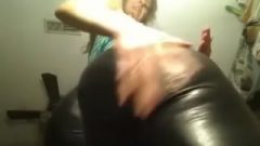 Filthy Teen In Leather Spanking Her Ass-Hole
