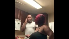 Red Head Chick Gives Larry A Spanking For Not Cleaning The Kitchen