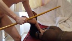 Perverted White Guy Abuses College Chocolate Darling With Spanking Cane