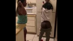 Nicole Gives Chick A Belt Spanking For Not Cleaning The Top Of Frigerator