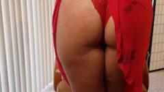 Short Red Summer Skirt Spanking Red Panties – Riding Crop Loud Moaning