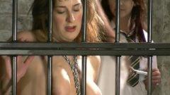 Caged Dyke Slave At School