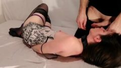 Tied Up Young Cutie Boob Slapping & Facial Jizz Swallow Evilkitties